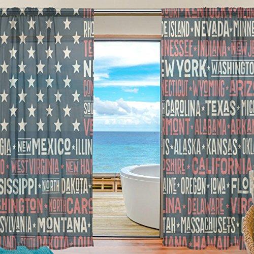 yibaihe Fenster Vorh?nge, Gardinen Platten Voile Drapes T¨¹ll Vorh?nge Amerika Flagge mit und Hauptstadt St?dte 139,7?cm W x 198,1?cm L 2?Eins?tze f¨¹r Wohnzimmer Schlafzimmer