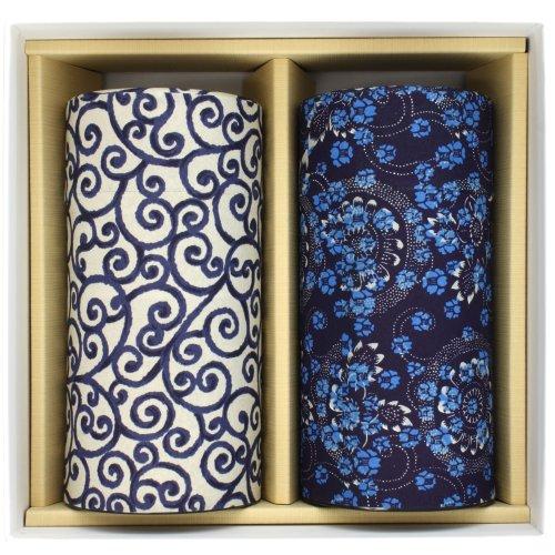 Teedose Geschenkset zwei Teedosen 'Aizome Karakusa' für 200g(je Dose) Teeblätter, Chac-101 aus...
