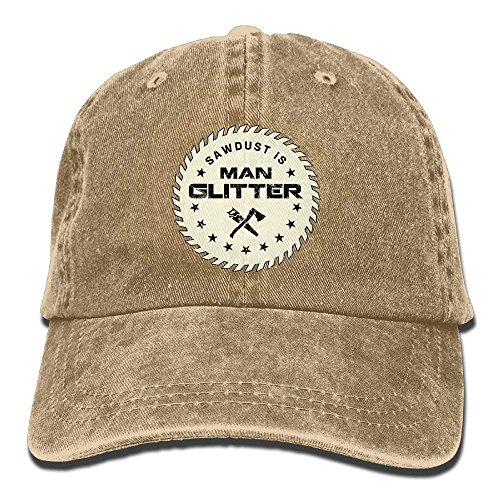 Unisex Sawdust is Man Glitter Cool Washed Cap Adjustable Dad Hat for Outdoor Baseball Cap Bio Washed Cap
