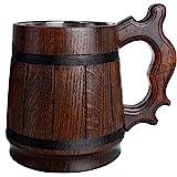 Handgemaakte Bierpul Eikenhout Roestvrijstalen Beker Natuurlijk Milieuvriendelijk Houten Bierpul 0,6L 20oz Klassiek Bruin (Re