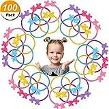 100 Pièces Liens de Cheveux Élastiques Lapin Oreille Enfants Attaches de Cheveux pour Tout-Petits Porte-Queue de Cheval Élastique Bandes de Caoutchouc pour Bébés
