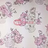 Totenkopf Rosen Blumen Tapete Struktur glänzend grau pink Glitzer DEBONA Wandaufkleber