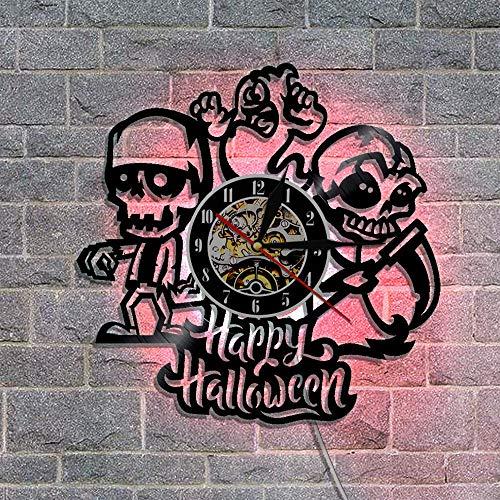 Mcolk Wanduhr Vinyl Led Uhr An Der Wand Uhren Home Decor Hallo Halloween Home Decoration Zubehör Modernes Design Einzigartige Uhr Hängen (Halloween Vintage Disney Cartoons)