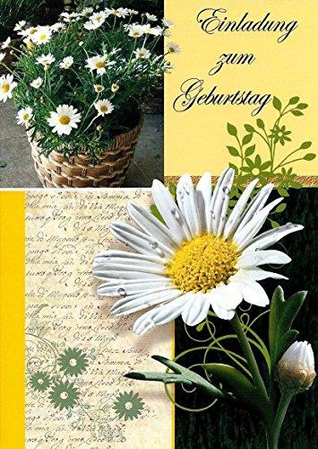 Einladungskarten Geburtstag Erwachsene Mann Frau mit Innentext Motiv: weiße Blume 10 Klappkarten DIN A6 mit weißen Umschlägen im Set Geburtstagskarten mit Kuvert Einladung Geburtstag Frau Mann K141