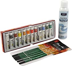 Designers Den Artists Acrylic Colour 12 Shades With Painting Brush Set And Varnish