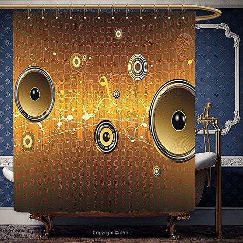 274,3x 182,9cm Vorhang für die Dusche Musik Lautsprecher Urban Party-Szene Elektronische Instrument DJ Disco Dancing Design Gold Ginger gelb 10613Polyester Badezimmer Zubehör Home Dekoration, Polyester, Multy, 108W x 72H Inch (Peanuts Halloween Dekoration)