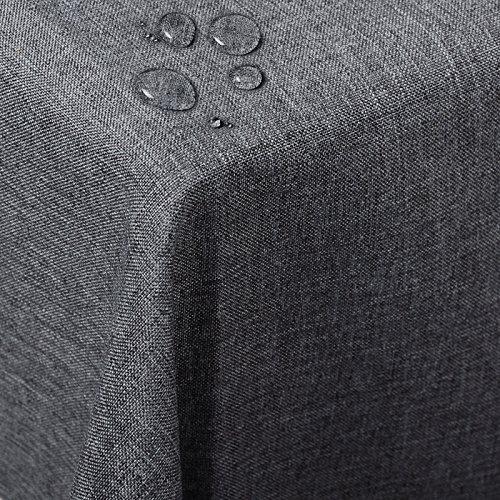 Preisvergleich Produktbild WOLTU TD3043gr Tischdecke Tischtuch Leinendecke Leinen Optik Lotuseffekt Fleckschutz Pflegeleicht abwaschbar schmutzabweisend Farbe & Größe Wählbar Eckig 130x220 cm Grau