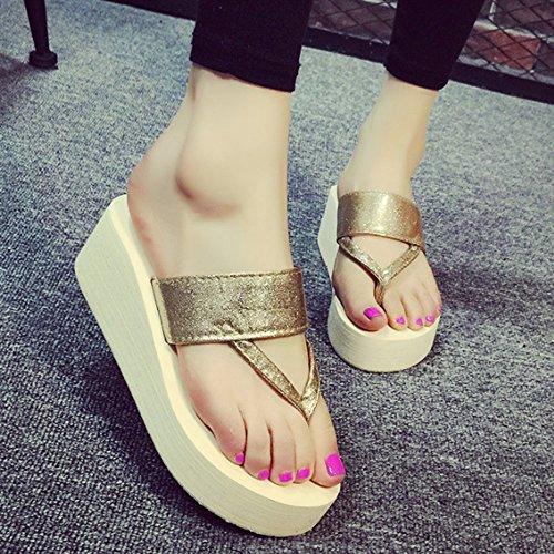 B adatta C 4 sandali dei i sandwiched scivolose con femminili pantofole hanno formato I heeled estive pantofole Pantofole facoltativi Colore i studenti sandwiched high colori facoltativo pattini HWqFX4wU