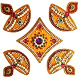 SS Craft Creations Handcrafted Decorative Diwali Rangoli Set – Multicolor Jewel Stone/Kundan Decorations on Yellow Acrylic Base – 5 Piece Set - for Home Décor