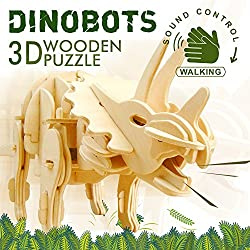 Robotime Madera Jigsaw Puzzle 3D dinosaurios Montar Wood Craft Mejor Cumpleaños Regalos De Navidad Para Niños Para Adultos (Triceratops)