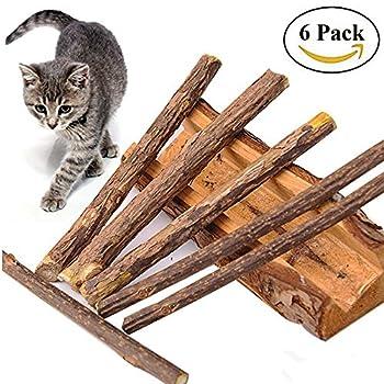 6 Matatabi Baton Chat - Catnip Jouet Herbe A Chat Dentifrice Chat Nettoyage des Dents Naturel Nourriture Mastique Bois Catnip pour Tous les Chats