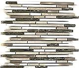 Mosaik Fliese Transluzent Edelstahl weiß Holz Verbund Glasmosaik Crystal Stein Stahl wood white für WAND BAD WC DUSCHE KÜCHE FLIESENSPIEGEL THEKENVERKLEIDUNG BADEWANNENVERKLEIDUNG Mosaikmatte Mosaikplatte