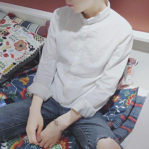 Una Camicia A Maniche Lunghe _ Lino Mens Camicia Di Cotone Retrò Casual Slim Piccolo Collare white