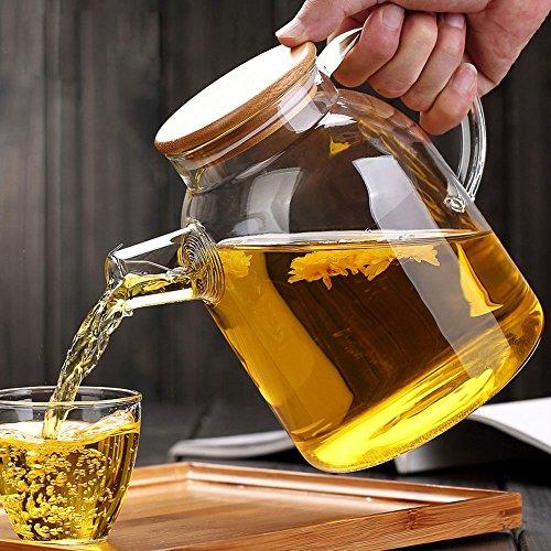 asentechuk® Hohe Kapazität Glas Wasserkocher Handwerk Wasser Krug Chinesische Blumen Teekanne Filter Bambus Deckel hitzebeständig Resteschale Edelstahl (1800ml) (Glas Und Bambus-tee - / Wasserkocher)
