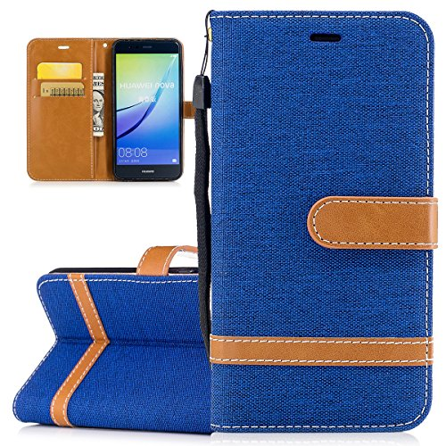 Custodia per Huawei P10 Lite, ISAKEN Flip Cover per Huawei P10 Lite con Strap, Elegante Bookstyle PU Pelle Case Cover Protettiva Flip Portafoglio Custodia Protezione Caso con Supporto di Stand / Carte Marrone+blu