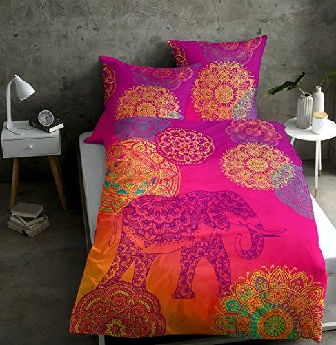sister s. Renforcé-Bettwäsche Noida Absolut Hip Mandalas Ornamente Glücks-Elefant Orientalische Farbenpracht Pink-Mango-Violett 135x200...