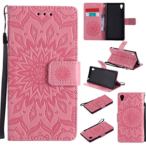 Sony Xperia M4 Aqua Case Leather, Ecoway Sun flower embossed pattern PU Leather Stand Function Protective Cases Covers with Card Slot Holder Wallet Book Design Detachable Hand Strap for Sony Xperia M4 Aqua - Pink