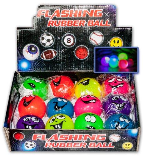 12 x Springball Funny Faces mit LED-Licht Gummiball Hüpfball Blinklicht Ball Flummi