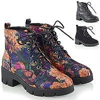 Womens Lace up Ankle Boots Ladies Combat Platform Punk Biker Cleated Sole Shoes