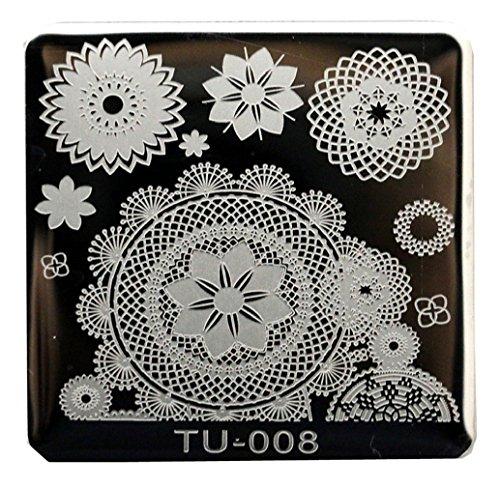 Tongshi 1 PC Mode DIY polnischen Beauty Nail Art Bildstempels Stanzen Platten 3D Nail Art Vorlagen Schablonen Maniküre Tools (8) (Tools 8)