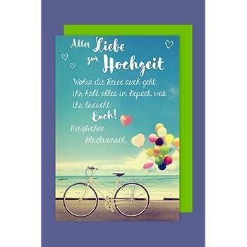 Gluckwunschkarte Zur Hochzeit Paar Auf Fahrrad Just Married