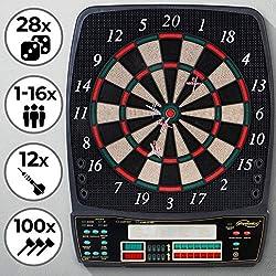 Physionics Elektronische Dartscheibe - 28 Spiele, 12 Soft Pfeile und 100 Ersatzspitzen, LED Anzeige - Profi Dartspiel, Dartboard, Dartautomat