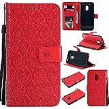 pinlu® PU Leder Tasche Handyhülle Für Lenovo Moto G4 Play (5.0 Zoll) Smartphone Wallet Hülle Mit Standfunktion & Kartenfach Design Rattan Blume Prägung Rot
