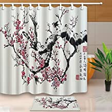 Watercolor Flower Decor Red Plum and Black Branches Against Gray Backdrop 180X180CM Mildew Resistant Polyester Fabric Shower Curtain Suit With 60x40cm Flannel Non-Slip Floor Doormat Bath Rugs