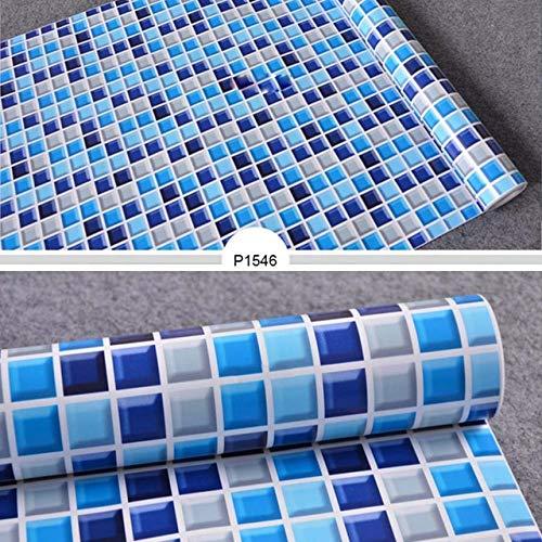 LZYMLG Wasserdichte PVC Mosaik Fliesen Aufkleber Ölbeständige Wandaufkleber Wohnkultur Badezimmer Küche Backsplash Vinyl Selbstklebende 3D Tapete p1546