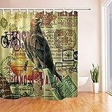 CDHBH Alte Karte Collection Eagle Vorhang für die Dusche in Badewanne 180,3x 180,3cm Polyester-Schimmelresistent-Badezimmer Fantastische Dekorationen Bad Vorhänge Haken im Lieferumfang Enthalten