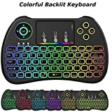 Meerveil H9 2.4GHz Mini clavier sans fil rétro-éclairé avec souris Touchpad (QWERTY) avec souris Touchpad Pour Android TV Box, Kodi,HTPC, IPTV, PC, PS3 ,Xbox 360, Raspberry Pi 3,NVIDIA SHIELD TV