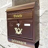 Großer Briefkasten / Postkasten XXL Kupfer / Bronce mit Zeitungsrolle Runddach