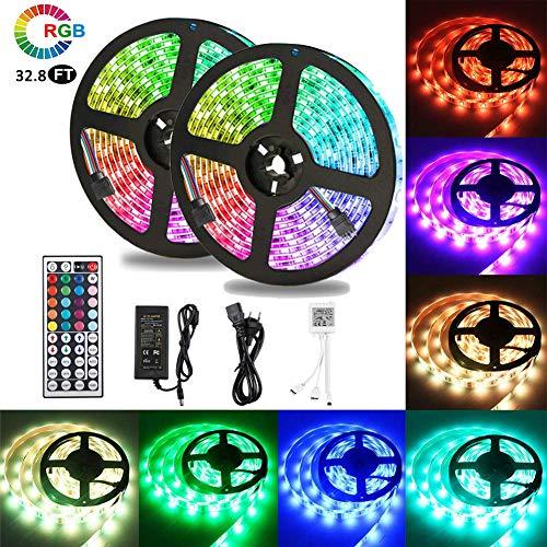 VGROUND 10M Impermeable Tira LED RGB 300 Leds 5050 SMD Tira LED de Luces LED Kit Completo con Control Remoto de 44 Botones para Dormitorio, Fiesta, Hogar