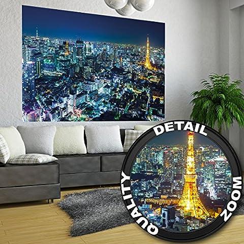Poster Tokyo City Wandbild Dekoration Tokio Skyline night Metropole Tokyo Tower Panorama Bild Japan Deko Welt-Stadt Reisen | Wandposter Fotoposter Wanddeko Wandgestaltung by GREAT ART (140 x 100 cm)