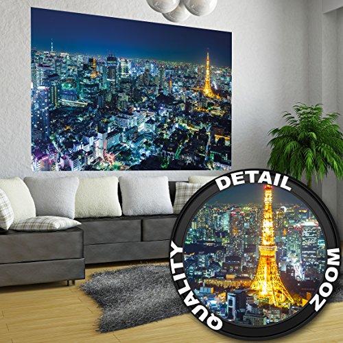 Póster Tokio Ciudad Mural Decoración Contorno de Tokio de noche Metrópolis Torre de Tokio Panorama Foto Japón Deco Mega ciudad Viajar | foto póster mural imagen deco pared by GREAT ART (140 x 100 cm)