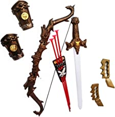 HALO NATION® Bahubali Weapons - Knights Fancy Dress Kids Cosplay - Kings Sword, Dragon Bow with 3 Arrows, Wrist Armour & Punch Set