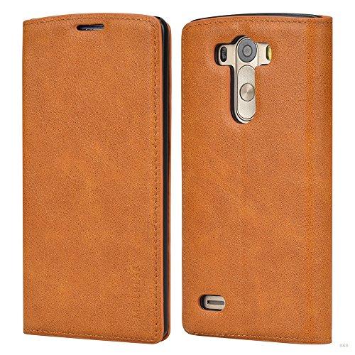Mulbess LG G3 Hülle, Leder Flip Tasche mit Wallet Case für LG G3 Handy Tasche Cover Etui, Braun