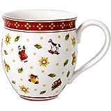 Villeroy & Boch Toy's Delight koffiemok met strooi motief, 440 ml, premium porselein, wit/rood