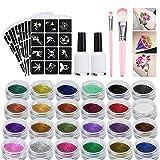 Kit Tatouage Paillettes, Tatouages Temporaires, Tatouages Paillettes Set de Maquillage Peintures avec 24 paillettes de couleurs, motif d'autocollant, 2 colles, 2 pinceaux, pour Carnaval Halloween