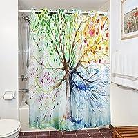 Tenda da doccia, impermeabile, a Candora mildew-resistant 100% poliestere tessuto, stampa 3D water-ink albero colorato, (Ombra Stripe Tie)