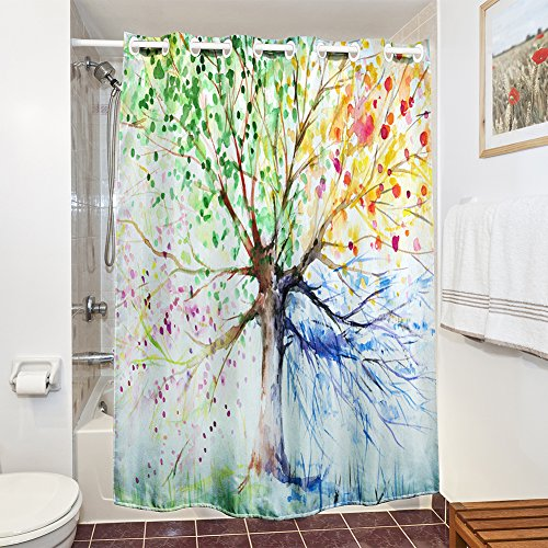 Candora, tenda da doccia impermeabile mildew-resistant 100% poliestere tessuto, stampa 3D water-ink albero colorato, da (Ombra Stripe Tie)