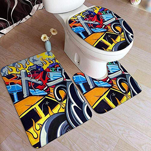 LAURE Bath Mat Gra-ffi-ti Art Sport 3-teiliges WC-Badteppichset rutschfeste Badteppichabdeckung Konturmatten Deckelabdeckung für Bad -
