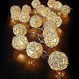 Cosansys 20LED Guirlande Guirlandes Lumineuses Batterie Rotin Pour Noël, Mariage, Patry, Decoration Maison Etc Environ 2.2M 3 XAA Piles (Non Inclus) (Blanc chaude)