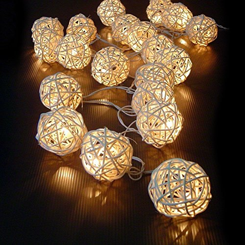 20 LED Rattan Lichterkette Ball Fairy Light String Weihnachtsdeko/Hochzeiten/Geburtstag/Party (Warmweiss)