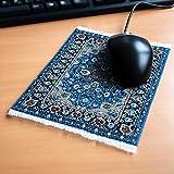 Orient&Ornament Mousepad im Orientteppich Design - Widerstandsfähiger, origineller und authentischer Miniaturteppich als Computer Zubehör für den Schreibtisch aus Textilgewebe in blau