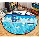 LEDMLSH Algodón de dibujos animados del océano Mundial Admisión de juguete Kid Mats ronda gruesa picnic rastreo almohadilla bolsa de almacenamiento plegable Moistureproof Kid Alfombra