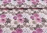 Toller Baumwoll Jersey Stoff Floral gemustert mit XL Blumen I Fleur I in zart rosé I Maße: 25 cm x ca. 145 cm | 1A ÖKO-TEX Qualität Standard |