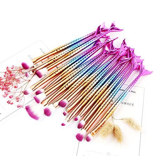 NEEDOON 15 Pièces Kit de Pinceaux Maquillage, Maquillage de sirène Brosses pour les yeux Cosmétiques Eyeliner Ombre à paupières Blending Brush