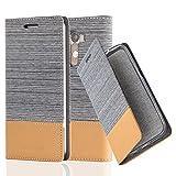 Cadorabo Hülle für LG G3 - Hülle in HELL GRAU BRAUN – Handyhülle mit Standfunktion und Kartenfach im Stoff Design - Case Cover Schutzhülle Etui Tasche Book