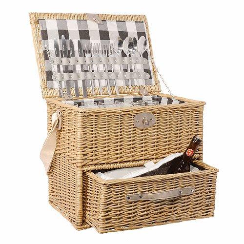 Picknickkorb Polo Kühlfach Gläser Teller Besteck 4 Personen 22-teilig